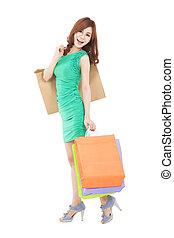 cheio, shopping, jovem, saco, comprimento, mulher, asiático