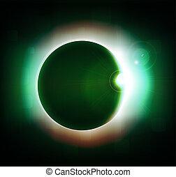 cheio, sol, eclipse