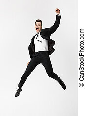 cheio, success., cinzento, isolado, comprimento, fundo, retrato, homem negócios, branca, excitado, celebração
