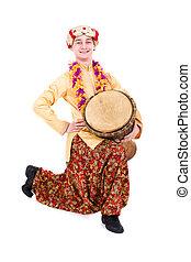cheio, tambor, comprimento, indianas, retrato, homem