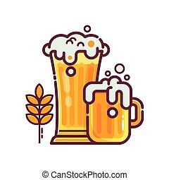 cheio, vidro cerveja, com, espuma