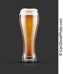 cheio, vidro, luz, lager, cerveja, com, espuma