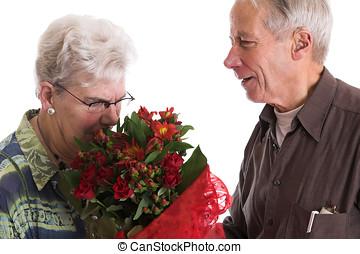 cheirando, a, flores