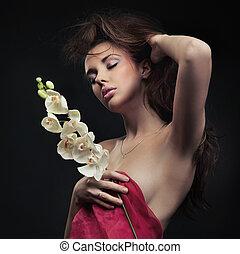 cheirando, orquídea, beleza, mulher