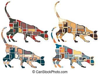 cheirar, mosaicos, gato