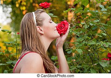cheirar, rosas, mulher, jardim, dela