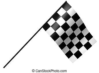 chekered racing flag - single checkered flag on white