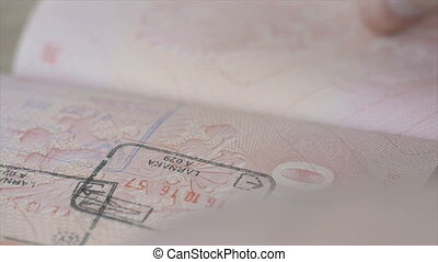 Cheking passport in the airport. FullHD video