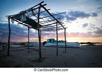 chelem, abandonnés, mexique, hutte, lagune, pendant, coucher soleil