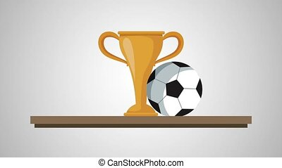 chelf with trophy soccer animation  illustration design