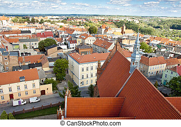 Chelmno old town - aerial view. - Chelmno old town view from...