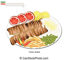 Iranian Cuisine, Illustration of Chelow Kabab or Traditional Barbecue with Steamed Saffroned Basmati and Vegetables. The National Dish of Iran.