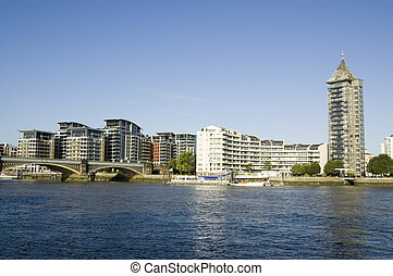 Chelsea and River Thames, London - View across the River ...