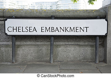 Chelsea Embankment Street Sign; London