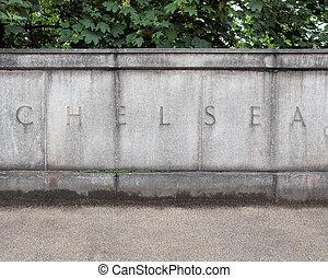Chelsea, London - Chelsea sign written in stone on Chelsea ...