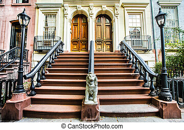 Chelsea NYC - Typical exterior steps and doors on ...
