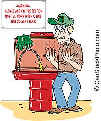 Man at a parts wash tank having his hands burning from a toxic chemical