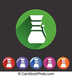 Chemex coffeemaker coffee icon flat web sign symbol logo label
