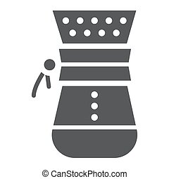 Chemex glyph icon, coffee and cafe, coffeemaker sign vector graphics, a solid pattern on a white background, eps 10.
