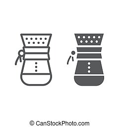 Chemex line and glyph icon, coffee and cafe, coffeemaker sign vector graphics, a linear pattern on a white background, eps 10.