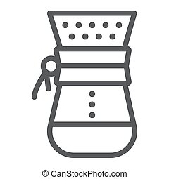 Chemex line icon, coffee and cafe, coffeemaker sign vector graphics, a linear pattern on a white background, eps 10.