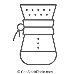 Chemex thin line icon, coffee and cafe, coffeemaker sign vector graphics, a linear pattern on a white background, eps 10.