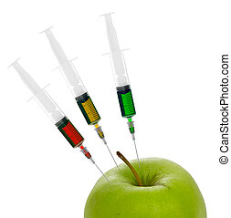 Chemical additives in food. GM, adulterated apple. Isolated...