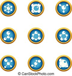 Chemical agent icons set, flat style