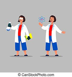 Chemical And Atomic Female Scientist Character