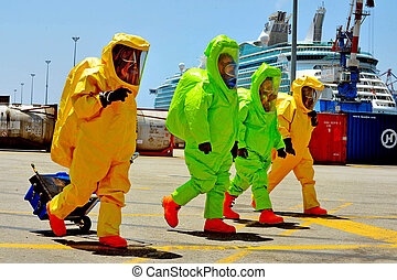 ASHDOD - JUNE 22: The Israeli emergency forces carry out an exercise which simulates a chemical and biological rocket attack on Ashdod Port, Israel on June 22, 2011.