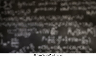 Chemical and mathematical equations wall room background focused and defocused action