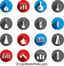 Chemical and medical flask icons vector set.