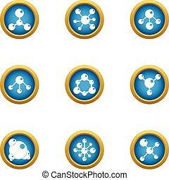 Chemical atom icons set, flat style