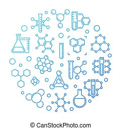Chemical background. Vector blue round outline illustration