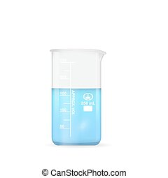 Chemical beaker, 250 ml volume, lab glassware, 3d vector...