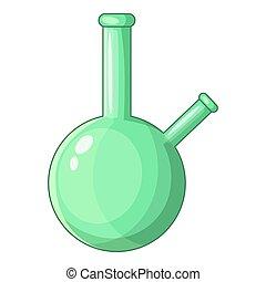 Chemical beaker icon, cartoon style
