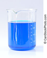 Chemical beaker with blue chemicals dissolved in water