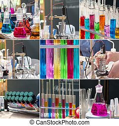 Chemical collage with a colored reagents