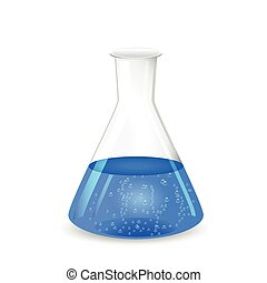 Chemical conical flask with blue solution - lab glassware,...