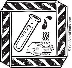 Chemical danger sign sketch - Doodle style danger of...