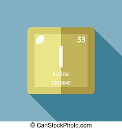 Iodine chemical element colored icon with atomic number and clip chemical element iodine flat urtaz Choice Image