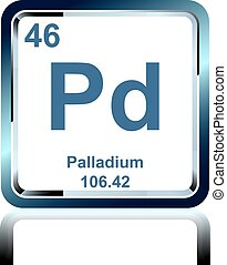 Chemical element palladium from the Periodic Table - Symbol...