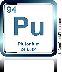 Symbol of chemical element plutonium as seen on the Periodic Table of the Elements, including atomic number and atomic weight.