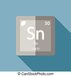Tin chemical element one of the most abundant elements vector chemical element tin flat urtaz Choice Image