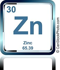 Chemical element zinc from the Periodic Table - Symbol of...