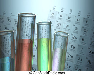 Test tubes with chemical elements inside and periodic table on background.
