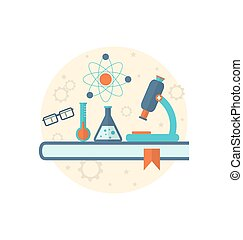 Chemical engineering background with flat icon of objects -...