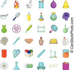 Chemical equipment icons set, cartoon style