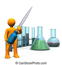 Chemical Experiment - Orange cartoon character with pipette...