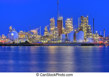 Chemical factory - Chemical production facility on a river ...